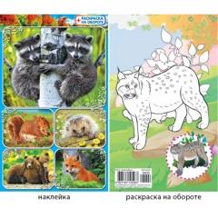 Наклейки А6 блестки + раскр. Лесные животные