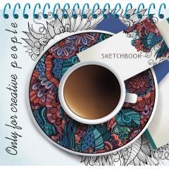 Скетчбук А6, 80л. цв.спираль,тверд.обложка,  КОФЕ И УЗОРЫ, Prof-Press,РФ