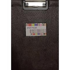 Планшет А4 с верхним зажимом и крышкой + карман д/визитки. КОРИЧНЕВЫЙ, Китай