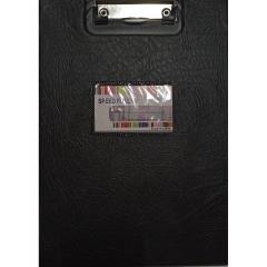 Планшет А4 с верхним зажимом и крышкой + карман д/визитки. ЧЕРНЫЙ, Китай